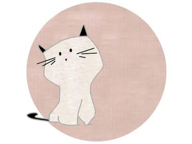 Round cotton kids rug CAT