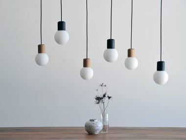 Lampada a sospensione a LED in legno e vetro CATKIN