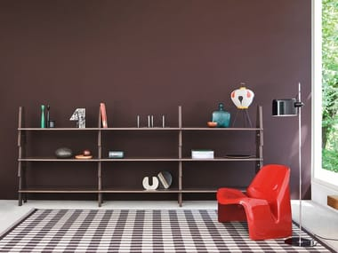 Open bookcase with MDF storage boxes CAVALLETTO - cm 312 x h119