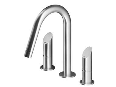 Mitigeur lavabo 3 trous à poser en acier inoxydable CB201 | Mitigeur lavabo