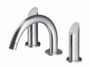 Mitigeur lavabo 3 trous à poser en acier inoxydable CB203 | Mitigeur lavabo