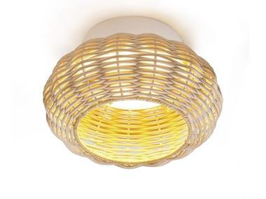 Plafoniera a LED fatta a mano in vimini NIUET | Plafoniera