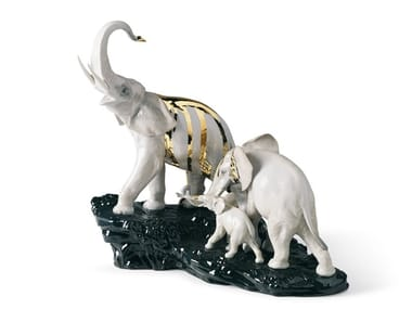 Porcelain decorative object CELEBRATION ELEPHANTS ON BLACK ROCK