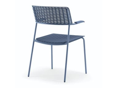 Stackable polypropylene chair with armrests CELL | Chair with armrests