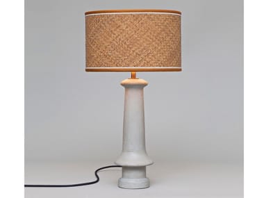 Concrete table lamp with rattan lampshade CEMENT | Rattan table lamp