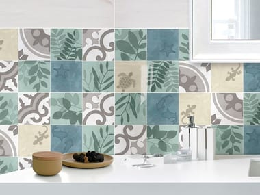 Indoor ceramic wall tiles with encaustic effect CEMENTINE