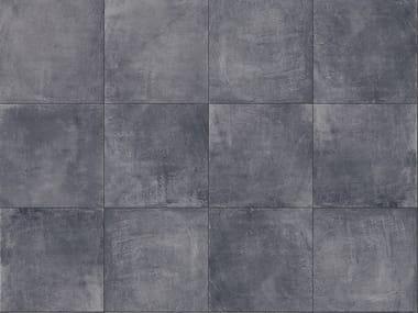 Porcelain stoneware outdoor floor tiles with concrete effect CEMENTO BLACK 3CM