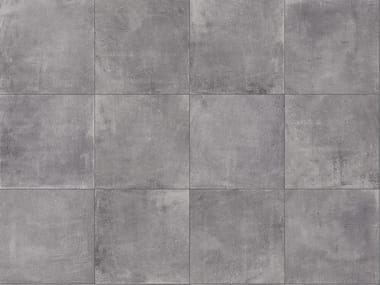 Porcelain stoneware outdoor floor tiles with concrete effect CEMENTO SMOKE 3CM