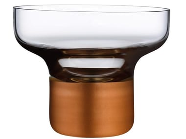 High Foot Bowl with Clear Top and Copper Base CONTOUR HIGH FOOT