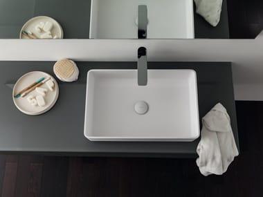 Countertop rectangular single Ceramilux® washbasin CERAMIC | Rectangular washbasin