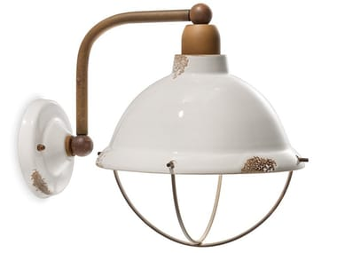 Lantern ceramic wall light with fixed arm INDUSTRIAL | Ceramic wall light