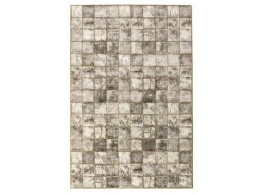 Handmade rectangular rug with geometric shapes CERAMIQUE