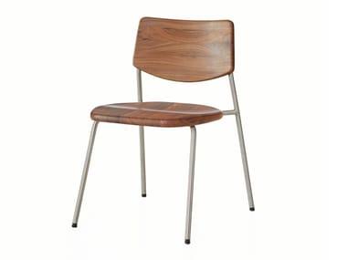 Silla apilable de acero inoxidable y madera PIPE | Silla