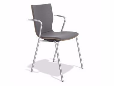 Gepolsterter stapelbarer Stuhl aus Stoff mit Armlehnen MANTA | Stuhl