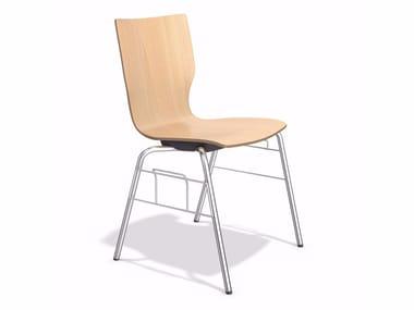 Stapelbarer Konferenzstuhl aus Holz mit Verkettung MANTA | Stuhl