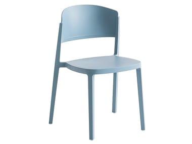 Open back technopolymer chair ABUELA