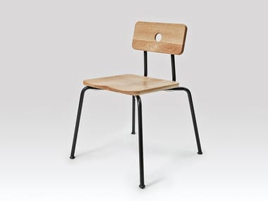 Stackable steel and wood chair MILNE | Chair