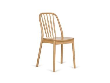Stackable open back beech chair ALDO A-1070
