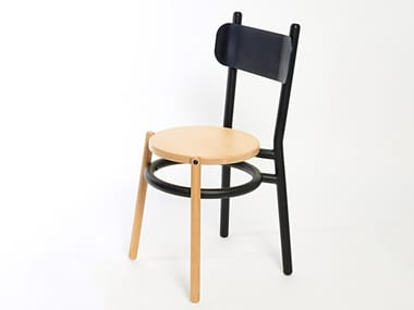 Steel and wood chair with footrest CHAILLOT | Chair