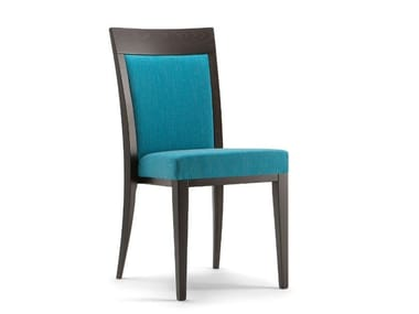 Solid wood and fabric chair with integrated cushion ATLANTA | Chair