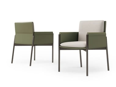 Chair with armrests covered in leather and fabric ZENIT | Chair