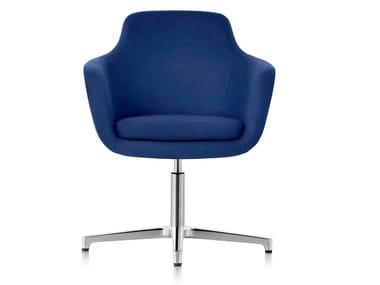 Chaise pivotante en tissu à 4 branches avec accoudoirs SAIBA | Chaise à 4 branches