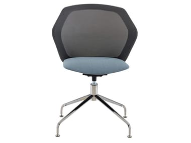Swivel fabric chair with 4-spoke base with integrated cushion PICCIONE | Chair with 4-spoke base