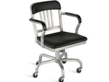 Sedia in alluminio a 5 razze con ruote NAVY® UPHOLSTERED | Sedia a 5 razze