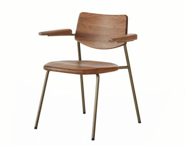 Stackable stainless steel and wood chair with armrests PIPE | Chair with armrests