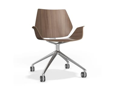 Swivel trestle-based chair with armrests CENTURO VI | Chair with armrests