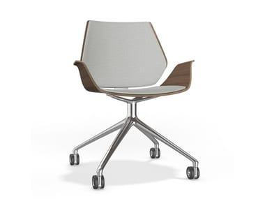 Swivel trestle-based chair with castors CENTURO VI | Chair with armrests