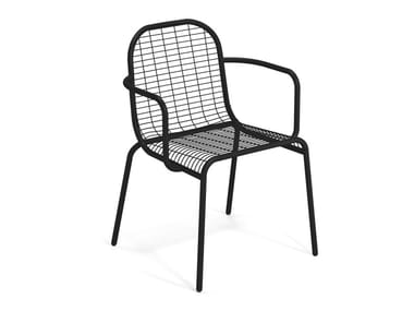 Stackable steel garden chair with armrests CENTINA | Chair with armrests