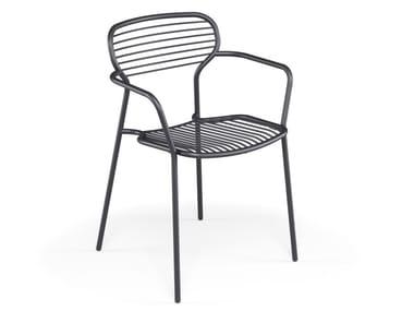 Sedia da giardino in acciaio con braccioli APERO | Sedia con braccioli