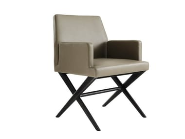 Leather chair with armrests ODEON | Chair with armrests