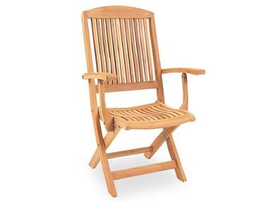 Recliner teak garden chair with armrests BURNHAM | Chair with armrests