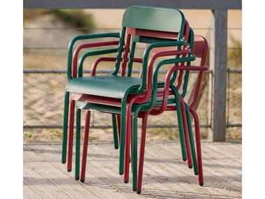 Stackable chair with armrests RIMINI | Chair with armrests