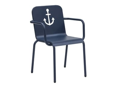 Steel garden chair with armrests NAUTIC | Chair with armrests
