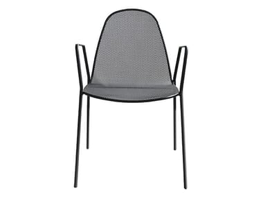 Stackable galvanized steel chair with armrests MIRABELLA 2