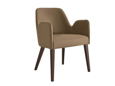 Upholstered Eco-leather chair with armrests SHOW | Chair with armrests