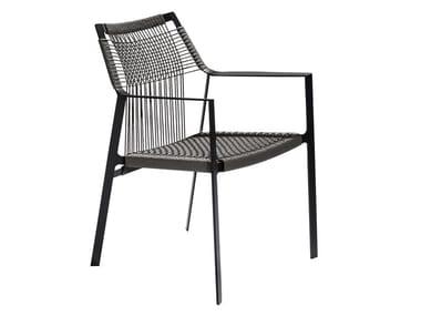 Sedia da giardino in Canax® con braccioli NODI | Sedia con braccioli