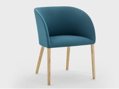 Chair with armrests in fabric with structure in ash MILLY | Chair with armrests