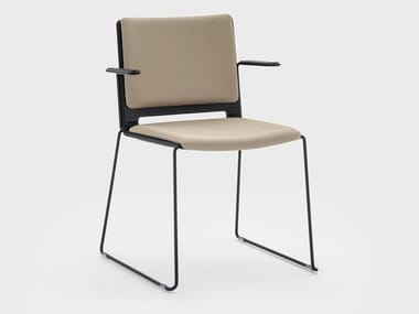 Stackable fabric chair with armrests DAISY | Chair with armrests