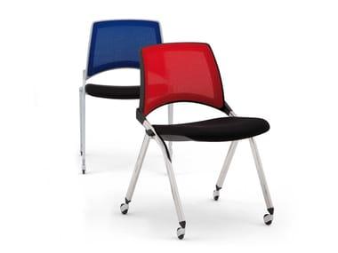 Stackable mesh chair with castors LAKENDÒ NET SOFT | Chair with castors