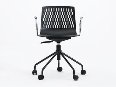 Cadeira operativa giratória de polipropileno com braços DASH | Cadeira operativa com braços