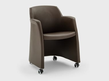 Leather chair with armrests with castors MISS GRACE | Chair with castors