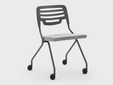 Folding plastic chair with castors MADAM COLLETTIVITÀ | Chair with castors