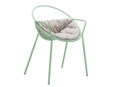 Powder coated steel garden chair with integrated cushion NUVOLETTA | Chair with integrated cushion