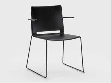 Sled base plastic chair with armrests DAISY | Chair with linking device