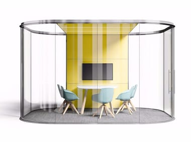 Acoustic sliding glass office partition CHAKRA