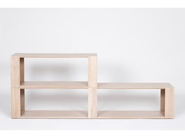 Wood veneer bookcase / coffee table CHAMFER | Rectangular coffee table